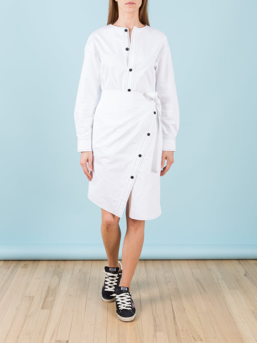 Asymmetric Cotton Wrap Dress