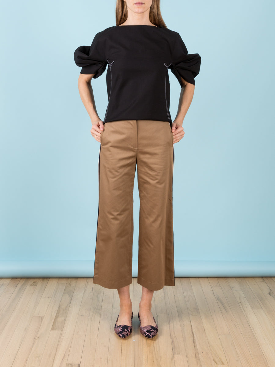Side Striped Cropped Wide-Leg Pants