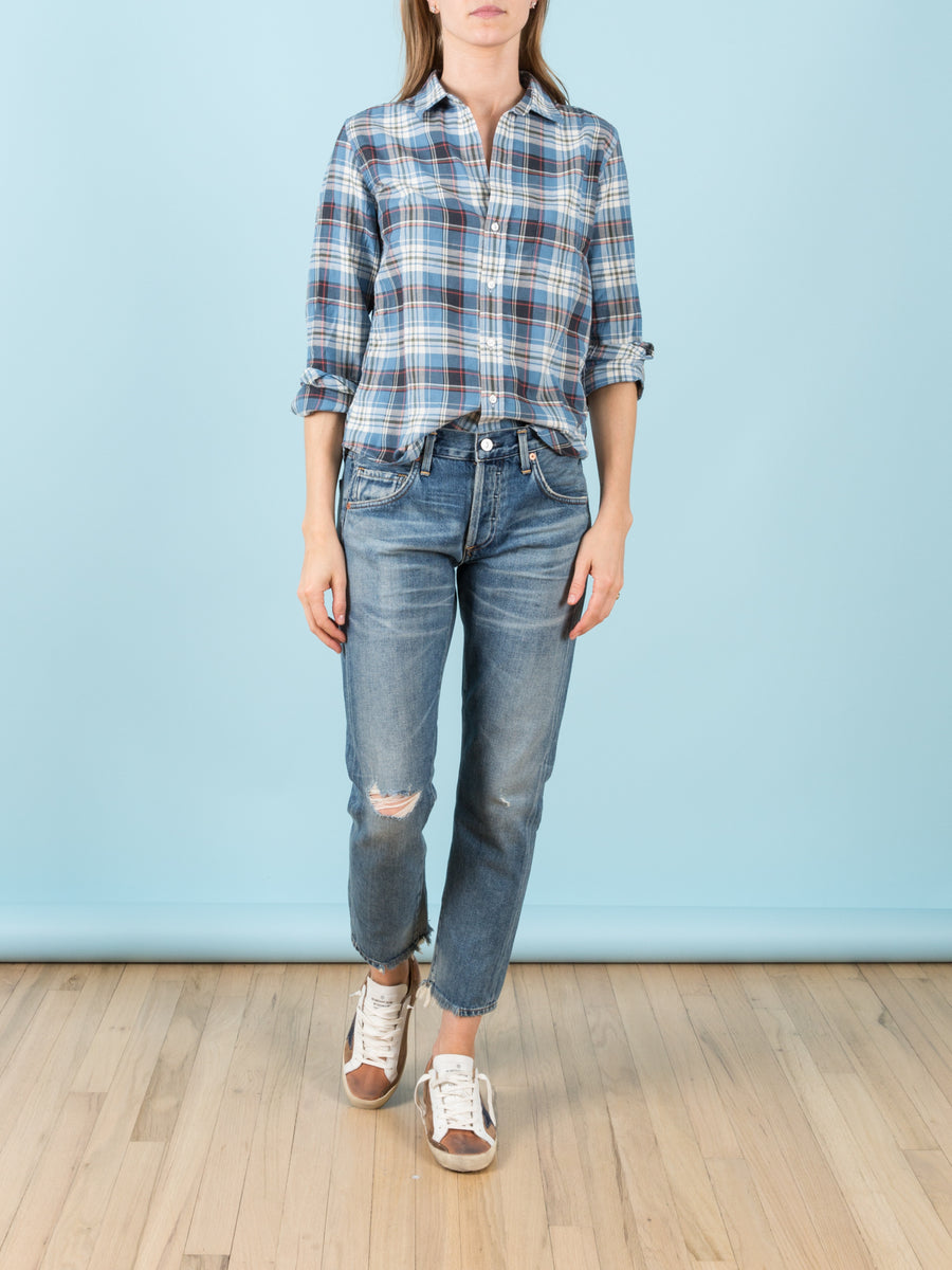 Barry Shirt in Faded Blue Plaid Twill