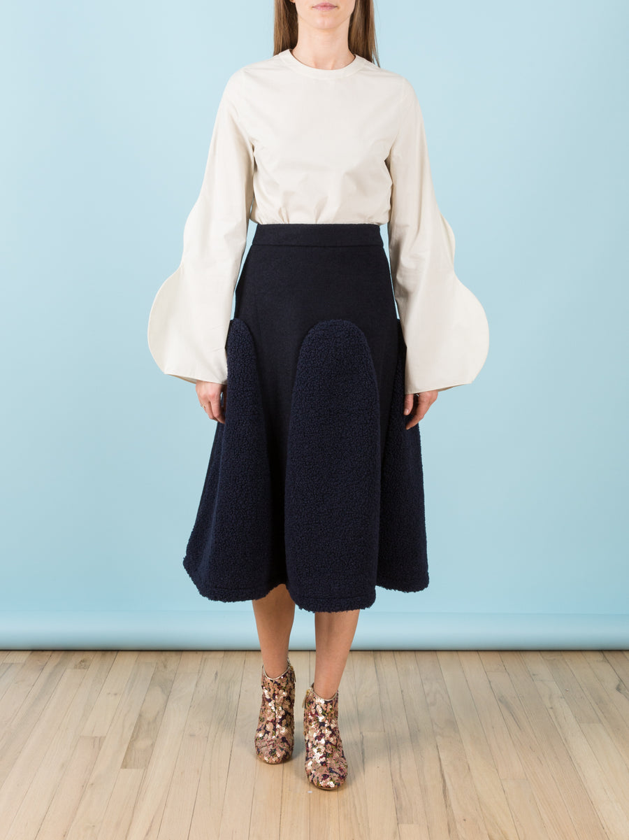 Skirt with Navy Shearling Panels