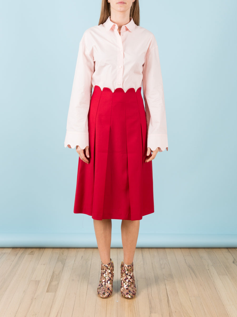 Red Scallop Waist Pleated Skirt
