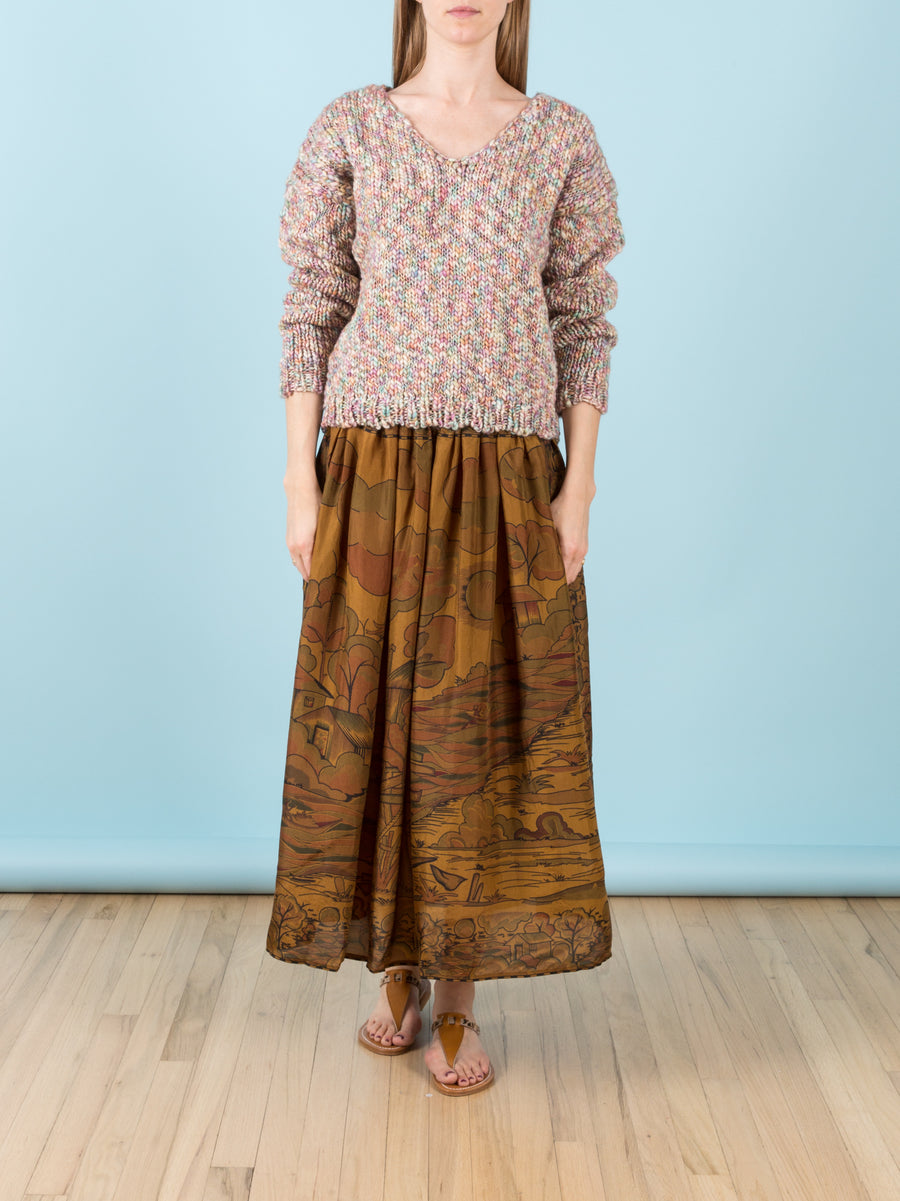 Cyclamen Printed Silk Skirt