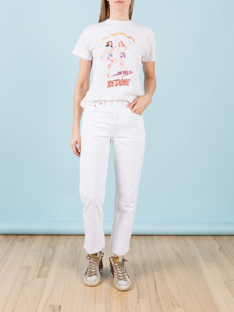 Originals High Rise Stovepipe White Jeans