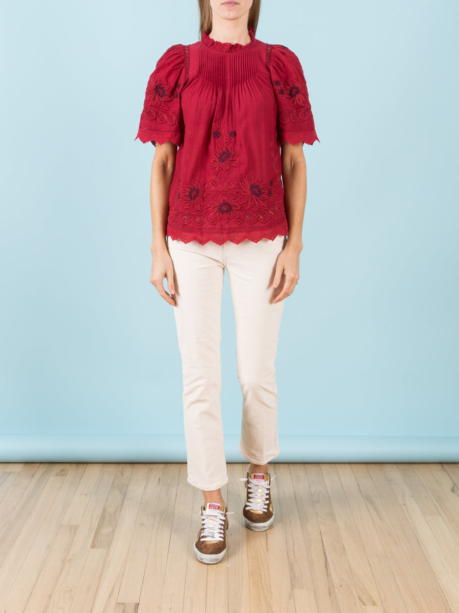 Greta Short Sleeve Blouse in Red