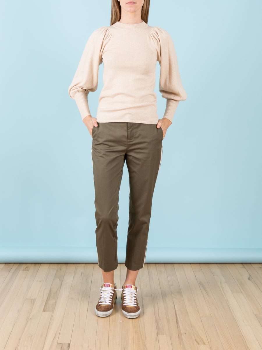 Dewi Puff Sleeve Crewneck in Wheat