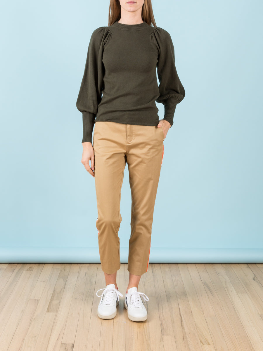 Honore Cropped Pant with Side Stripes in Khaki