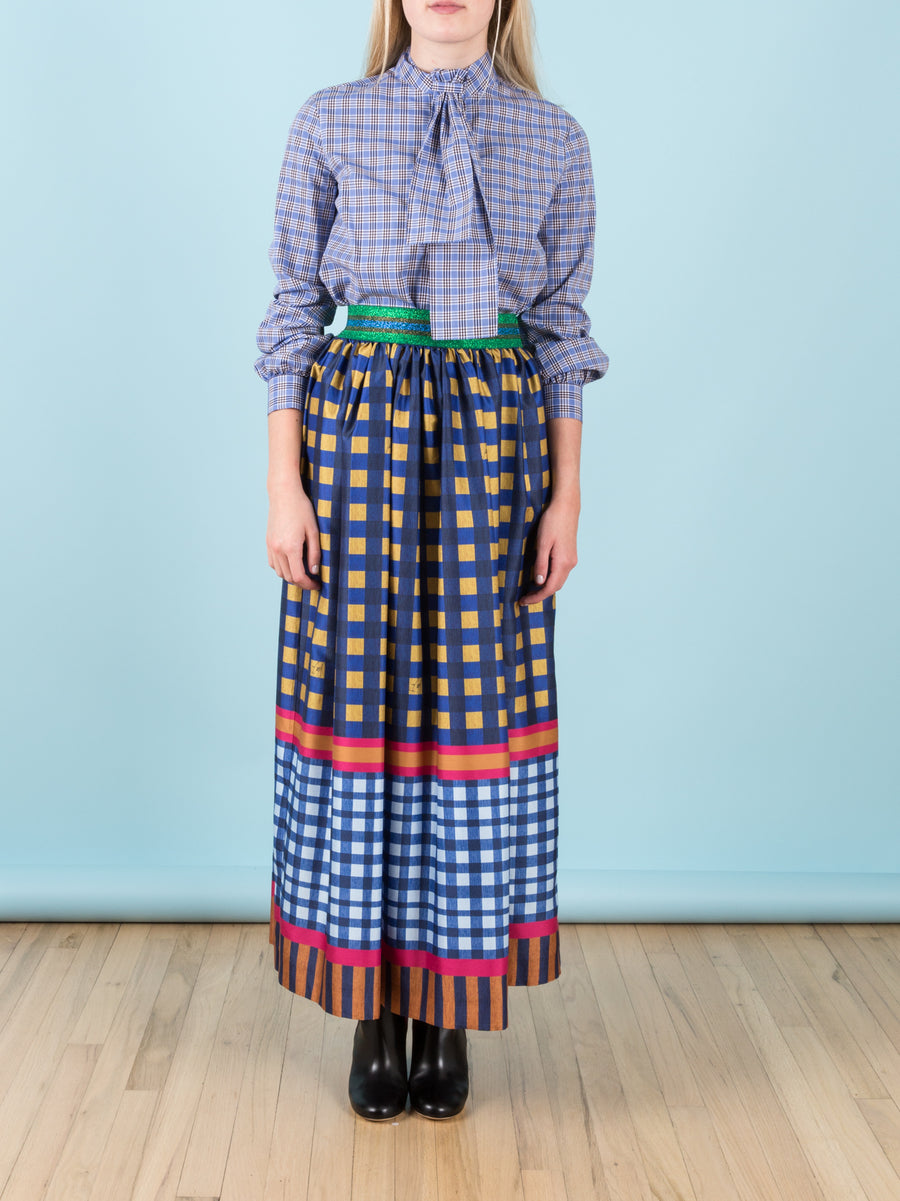 Maxi Skirt in Printed Shantung