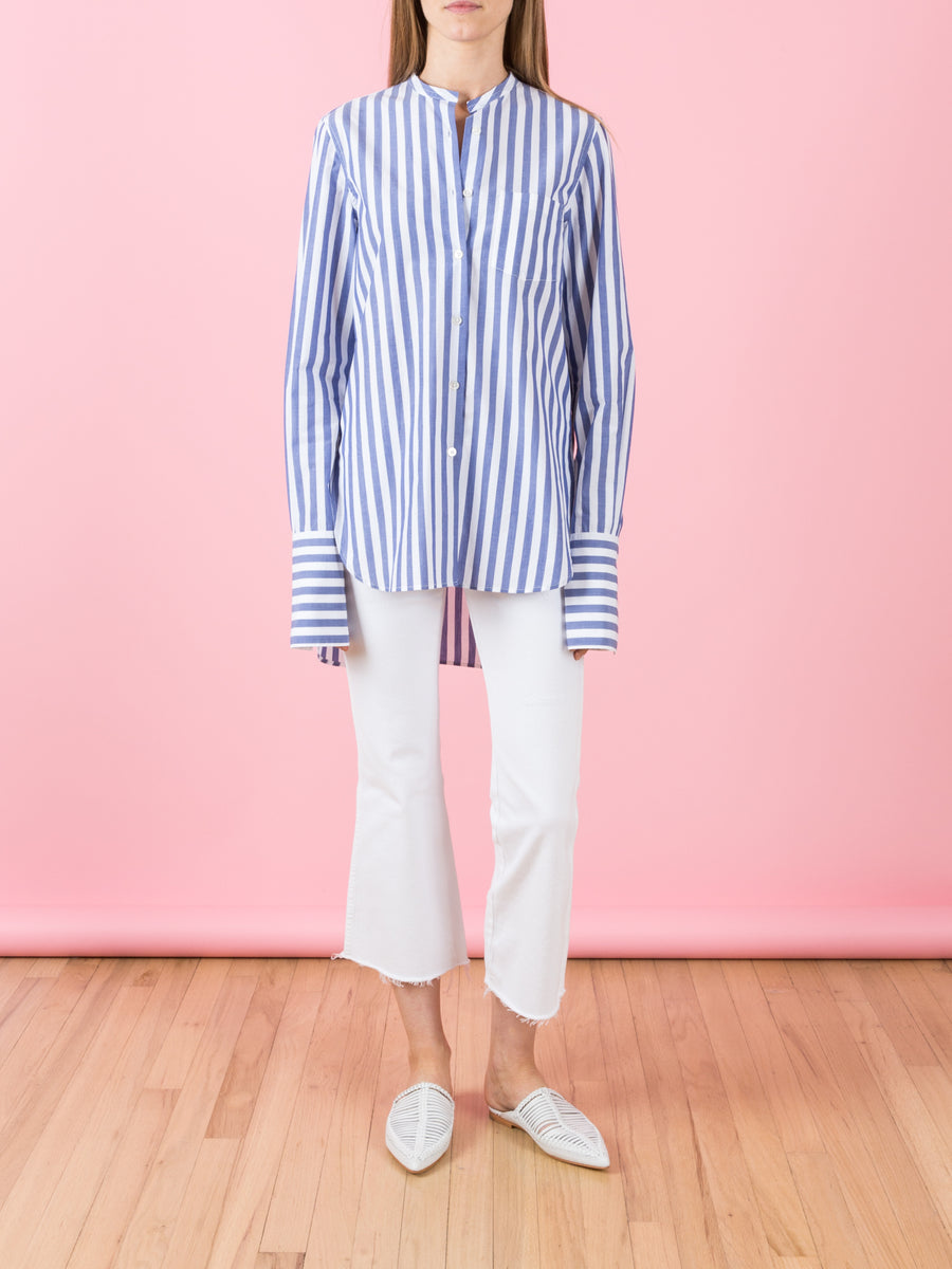 Long Button Up Shirt in Blue & White Stripe