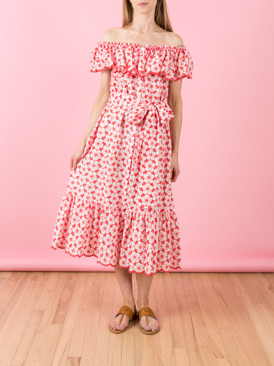 Mira Tomato & White Poppy Eyelet Dress