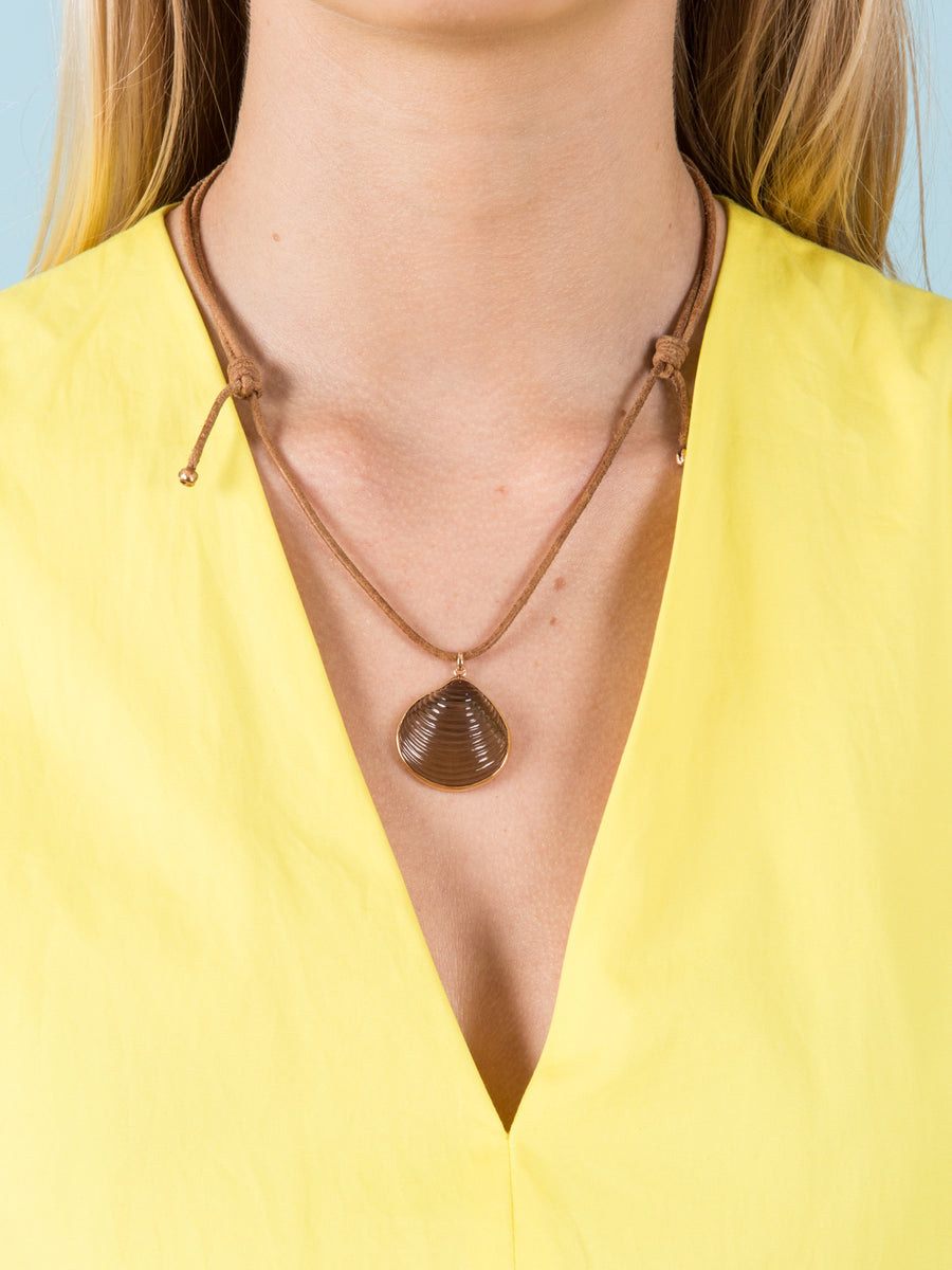 Medium Venus Charm in Smokey Quartz on Leather Cord Necklace