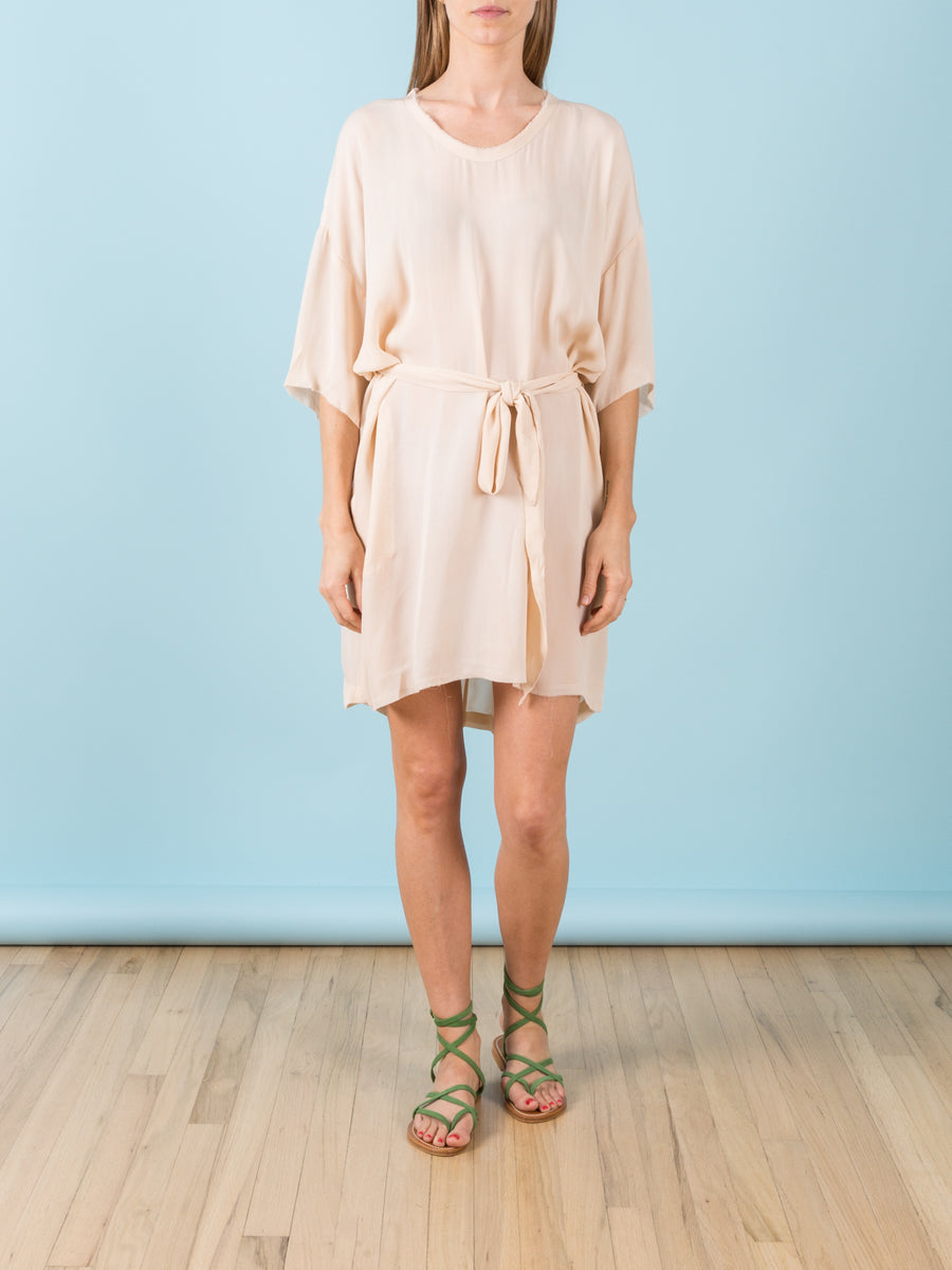 Belted Boxy Dress in Off White