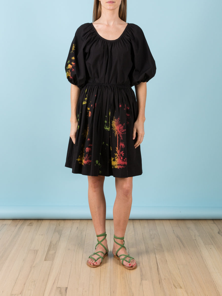 Peasant Top in Black with Palm Print