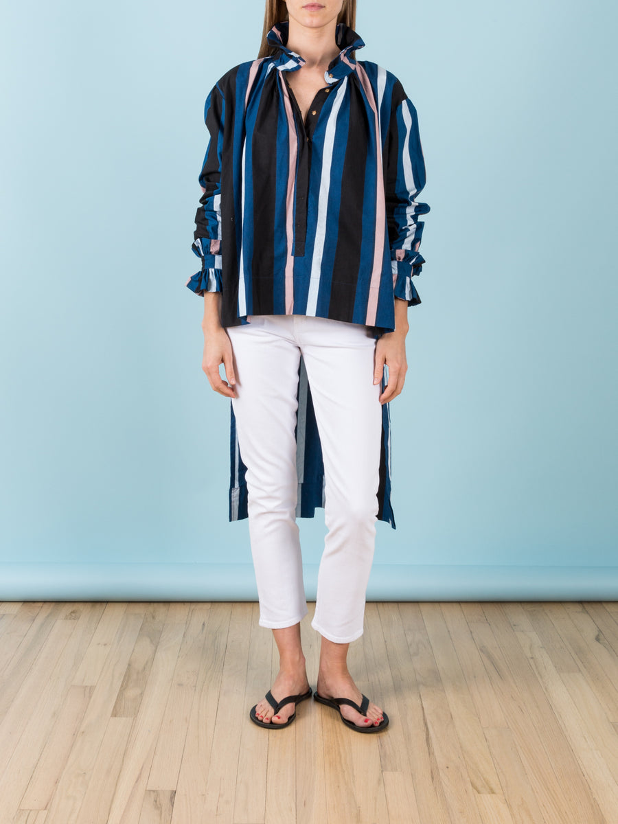Napoleon Blouse in Midnight Stripe