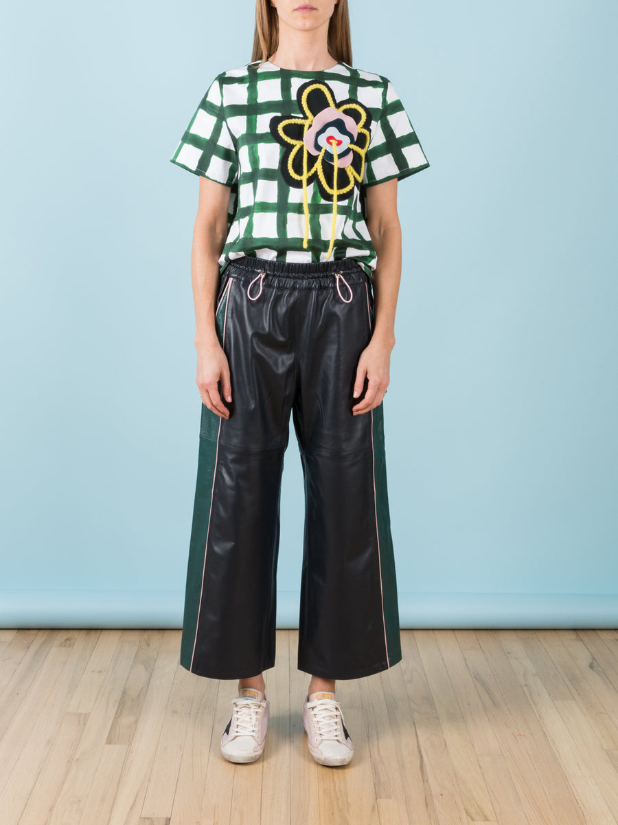 Green & White Plaid with Embroidered Felt Flower Scuba Top