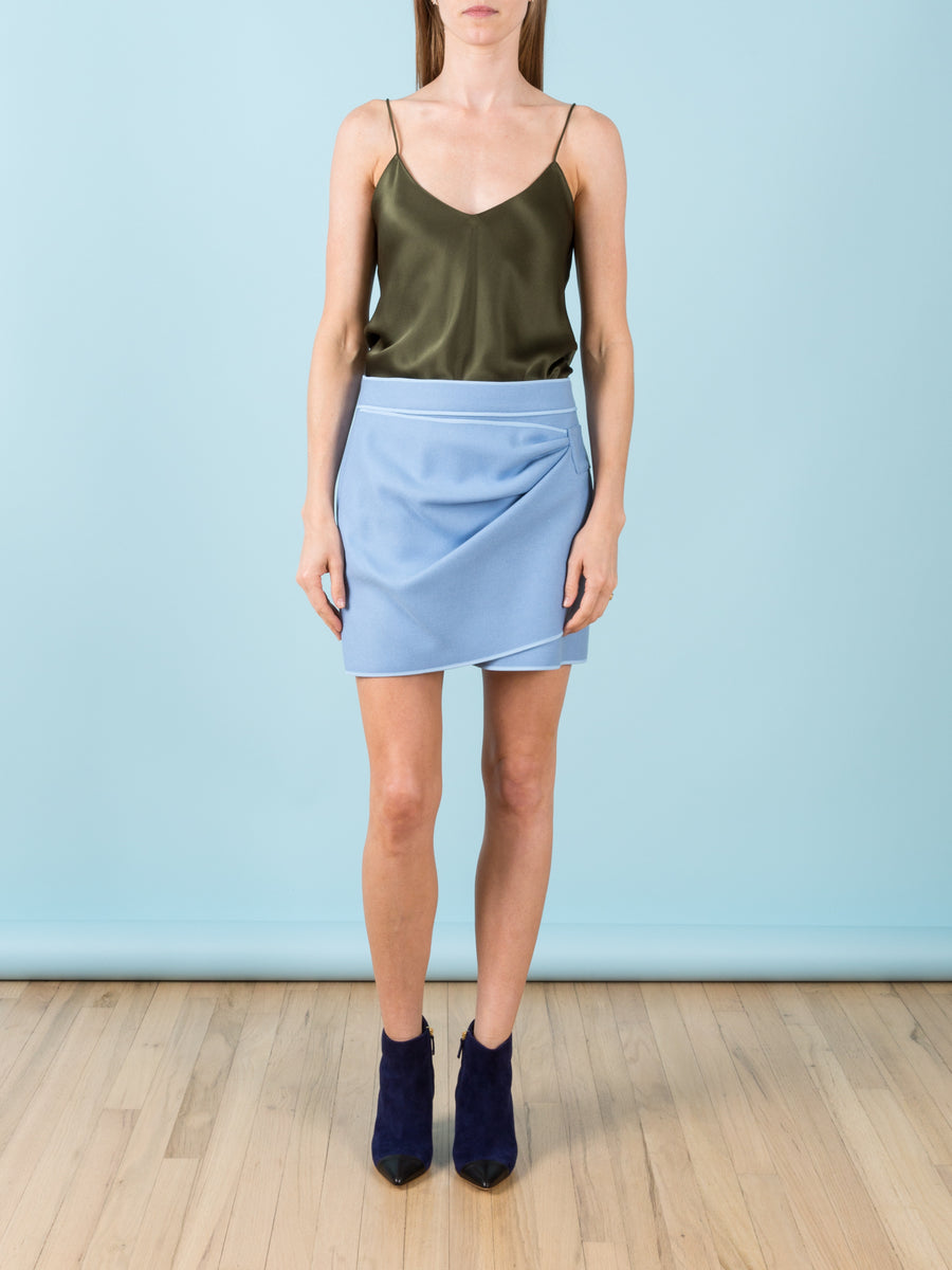 Powder Blue Wool Mini Skirt