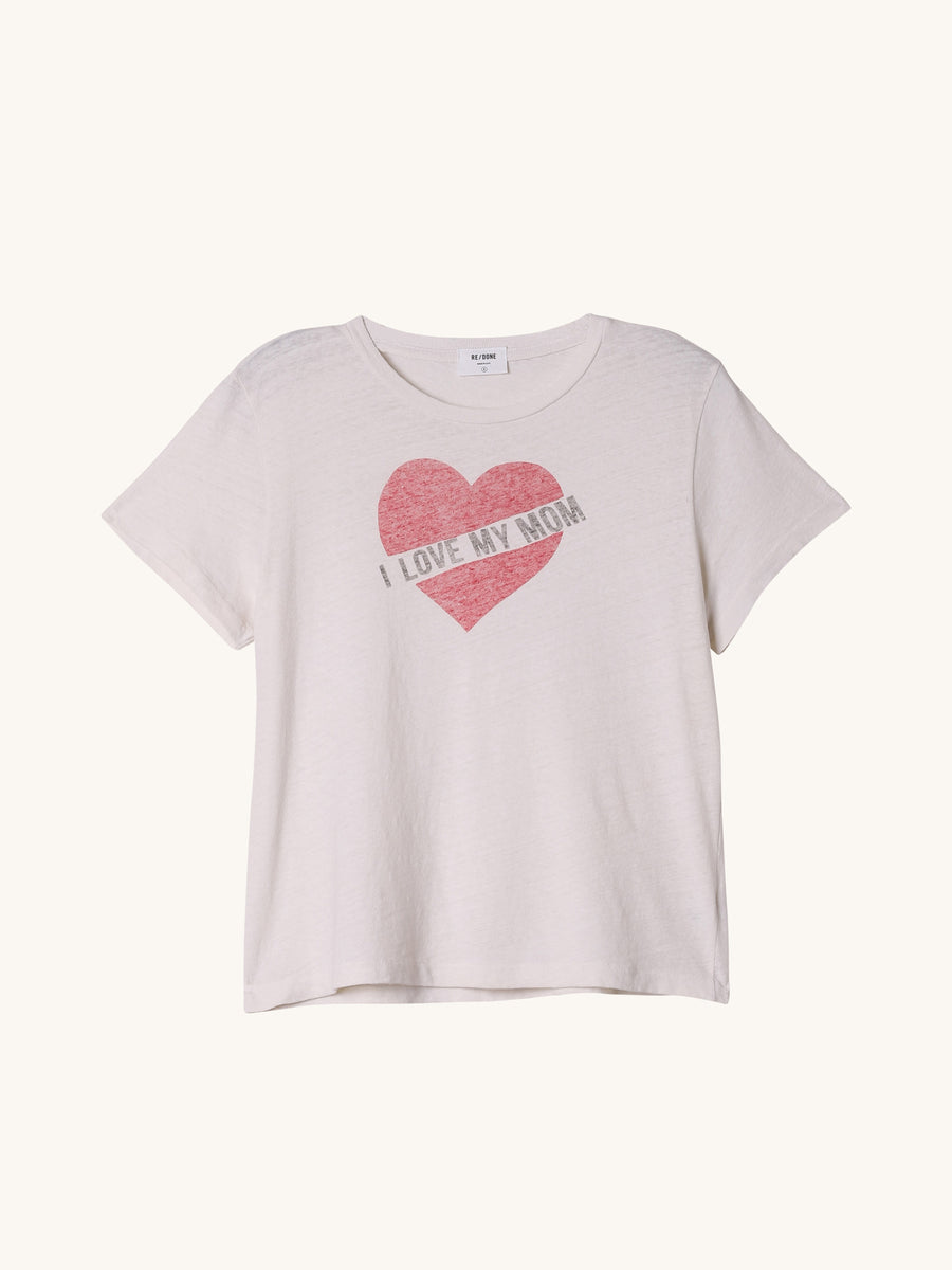 I Love My Mom Tee in Vintage White