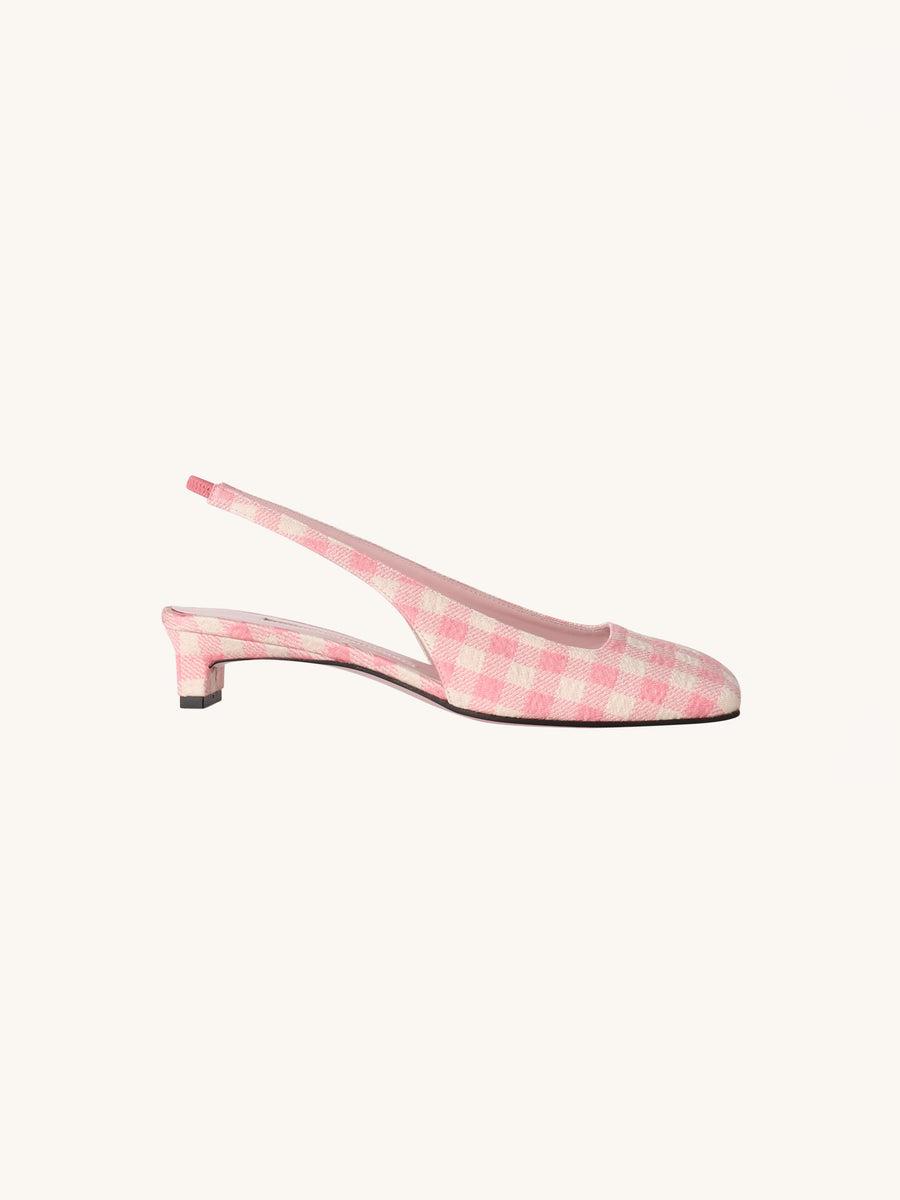 Little Girl Gloria Heel in Pink Gingham