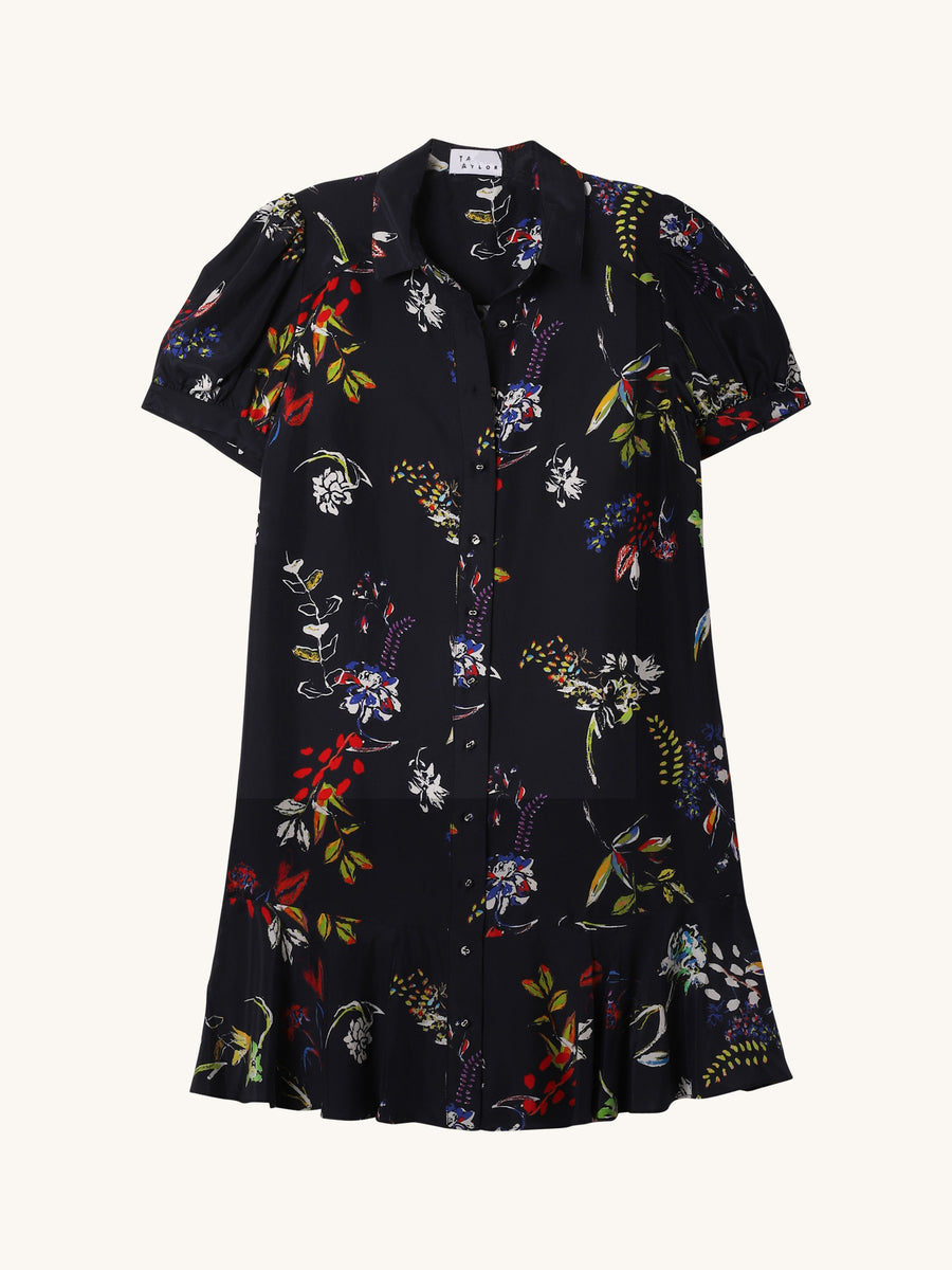 Aliciana Floral Dress in Navy