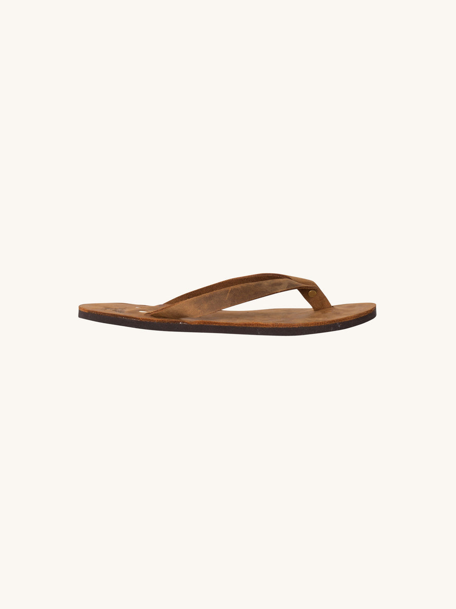 Leather Flip Flop in Brown