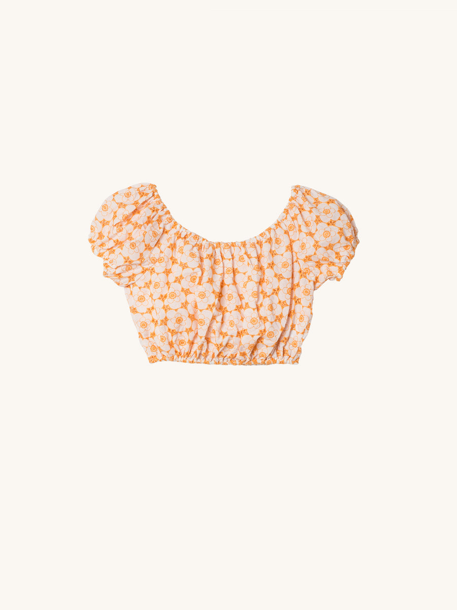 Leandra Eyelet Top in Tangerine