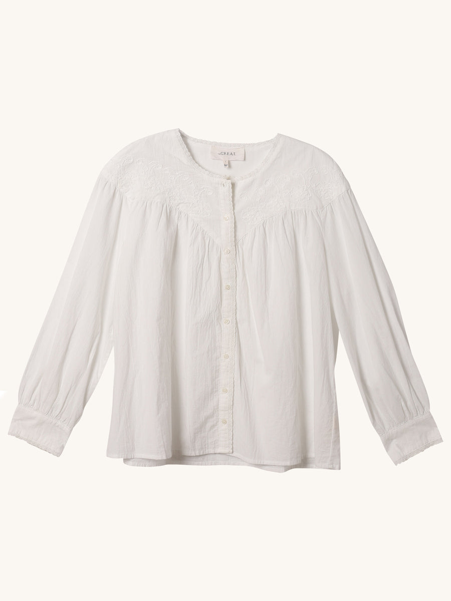 Western Smock Top in White