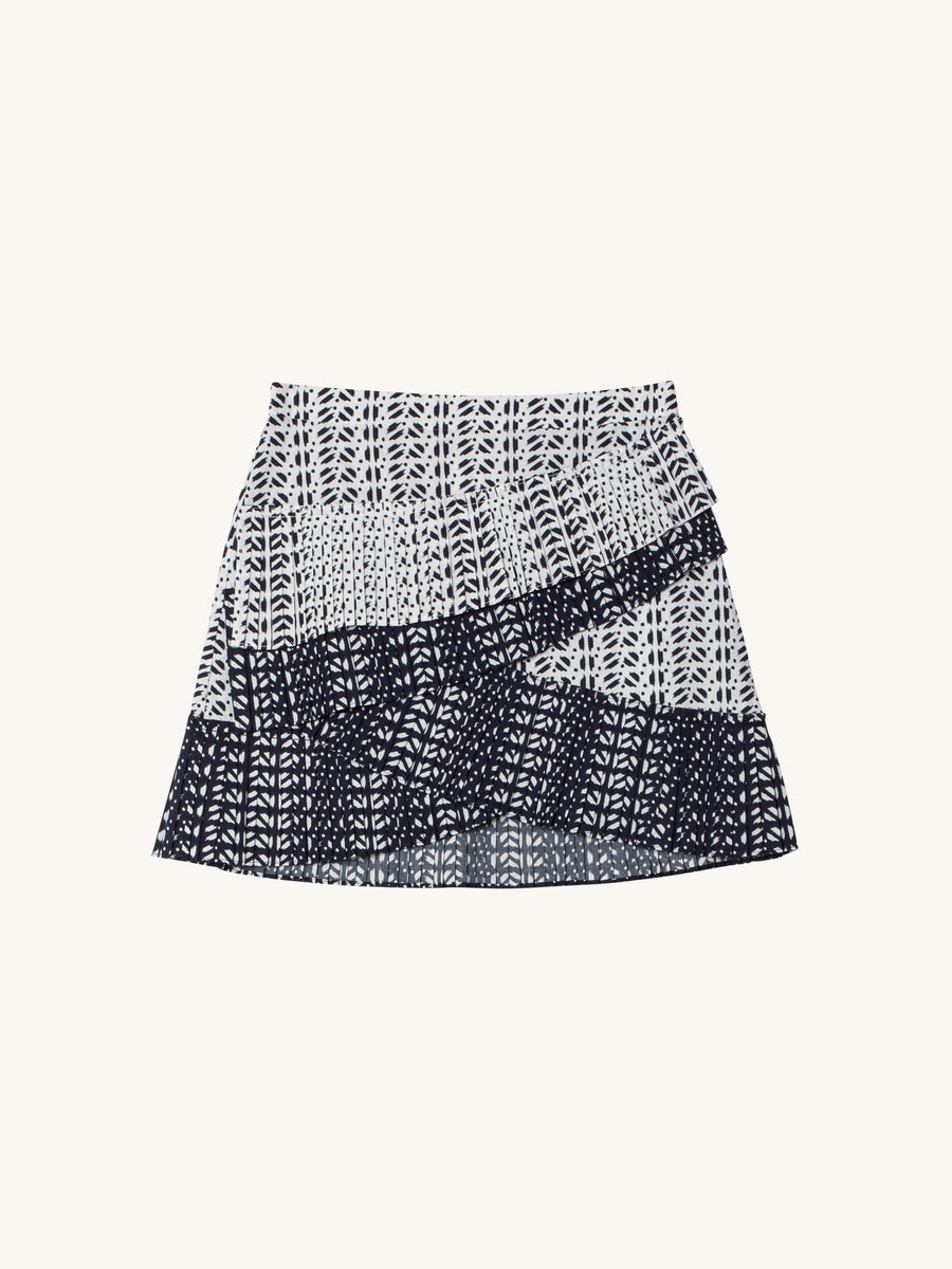 Ikat Piero Skirt in Navy & White