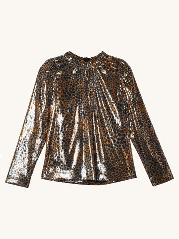 Leo Sequin Blouse in Gold