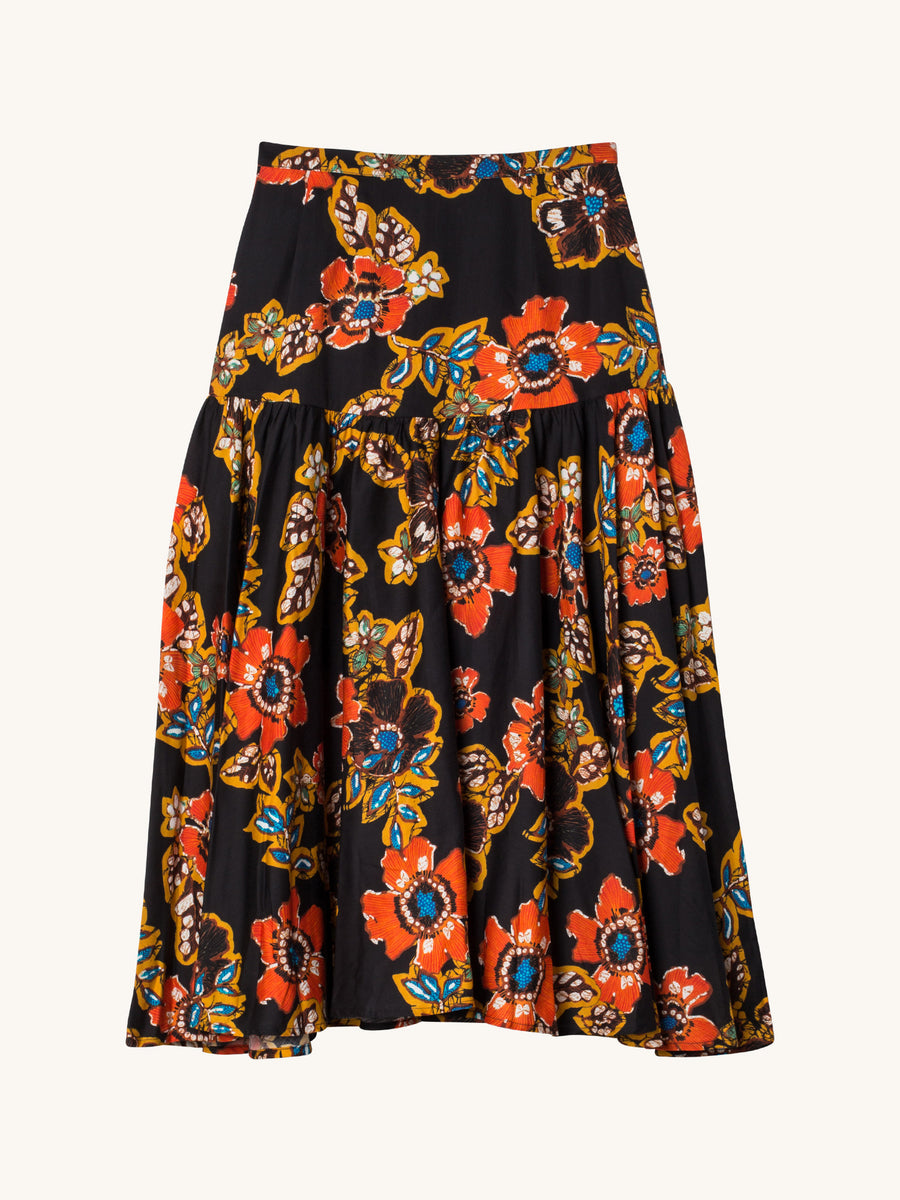 Path Floral Cotton Poplin Midi-Skirt