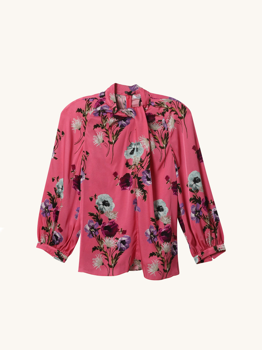 Front Twist Floral Blouse