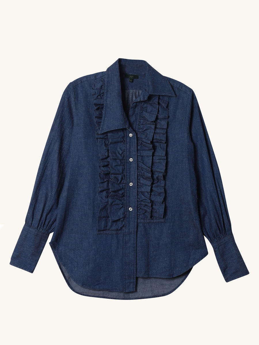 Ruffled Collar Denim Shirt