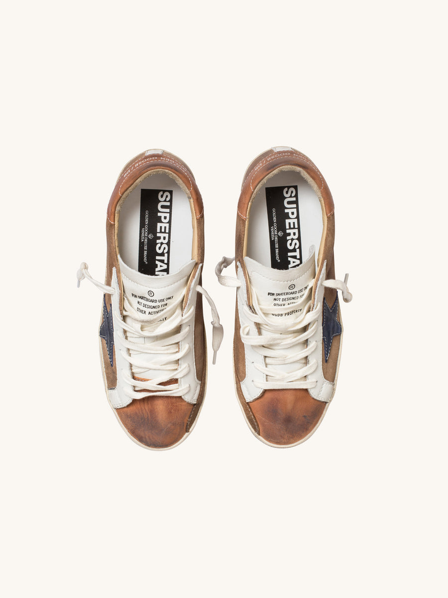 Superstar Sneaker in Tan with Indigo Star
