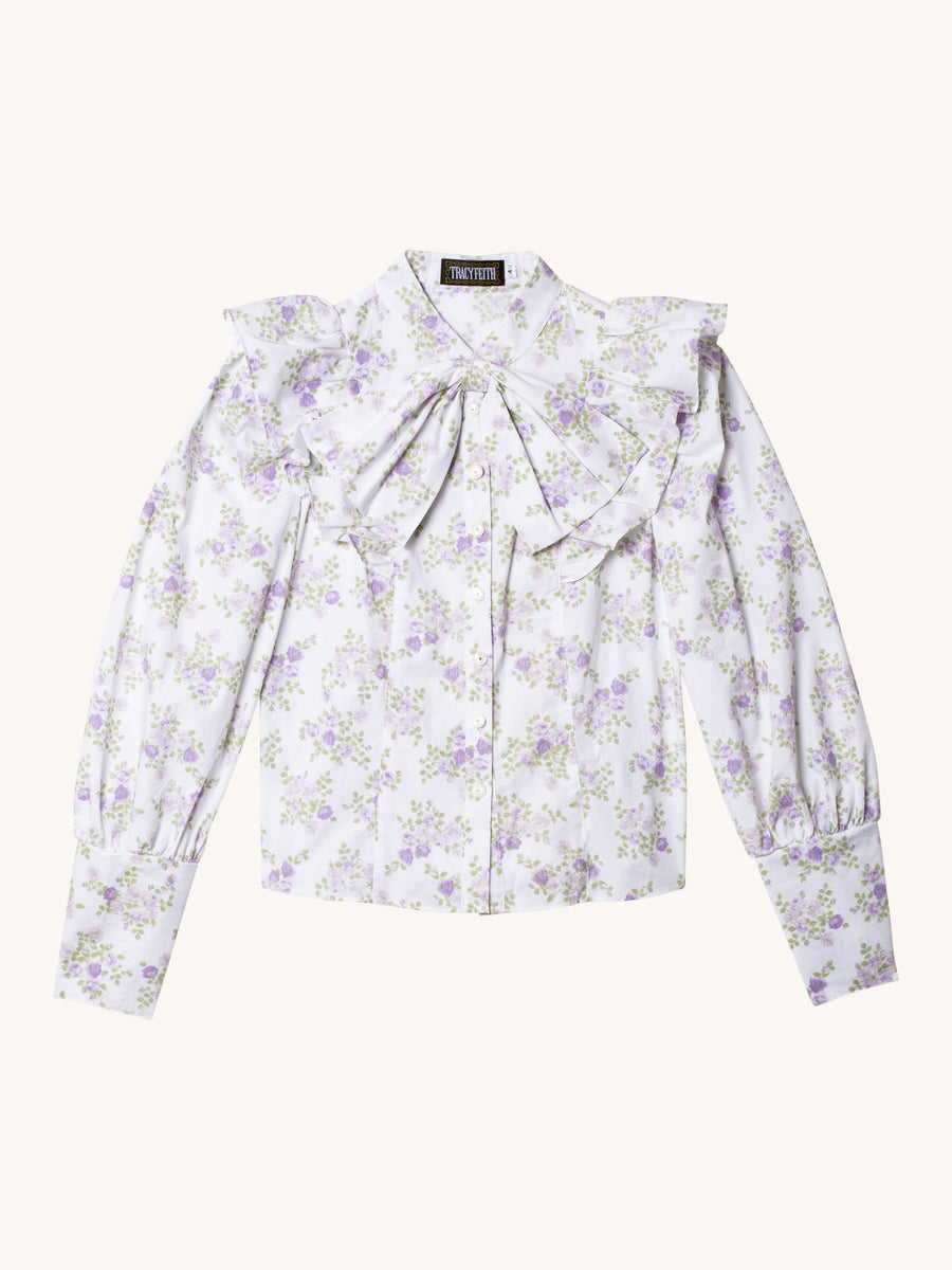Long Sleeve Floral Blouse in Lavender