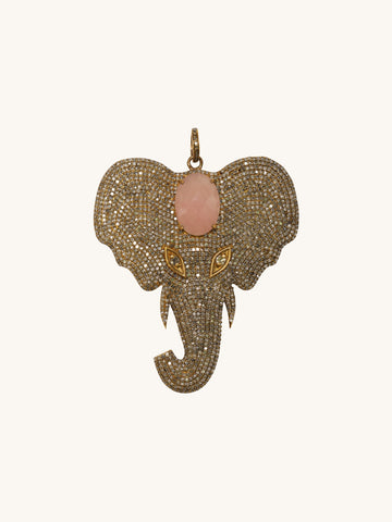 Pavé Elephant with Pink Agate