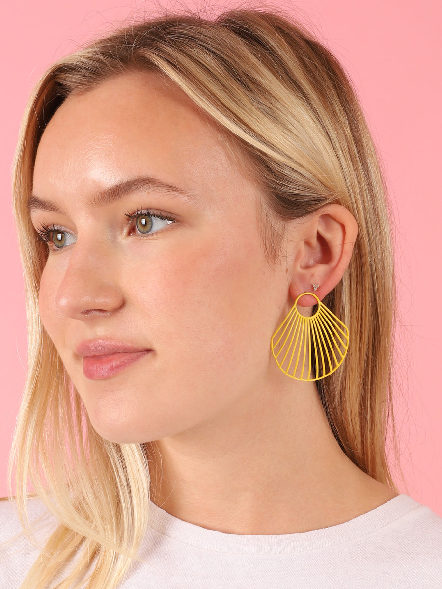 Yellow Large Clam Shell Earrings