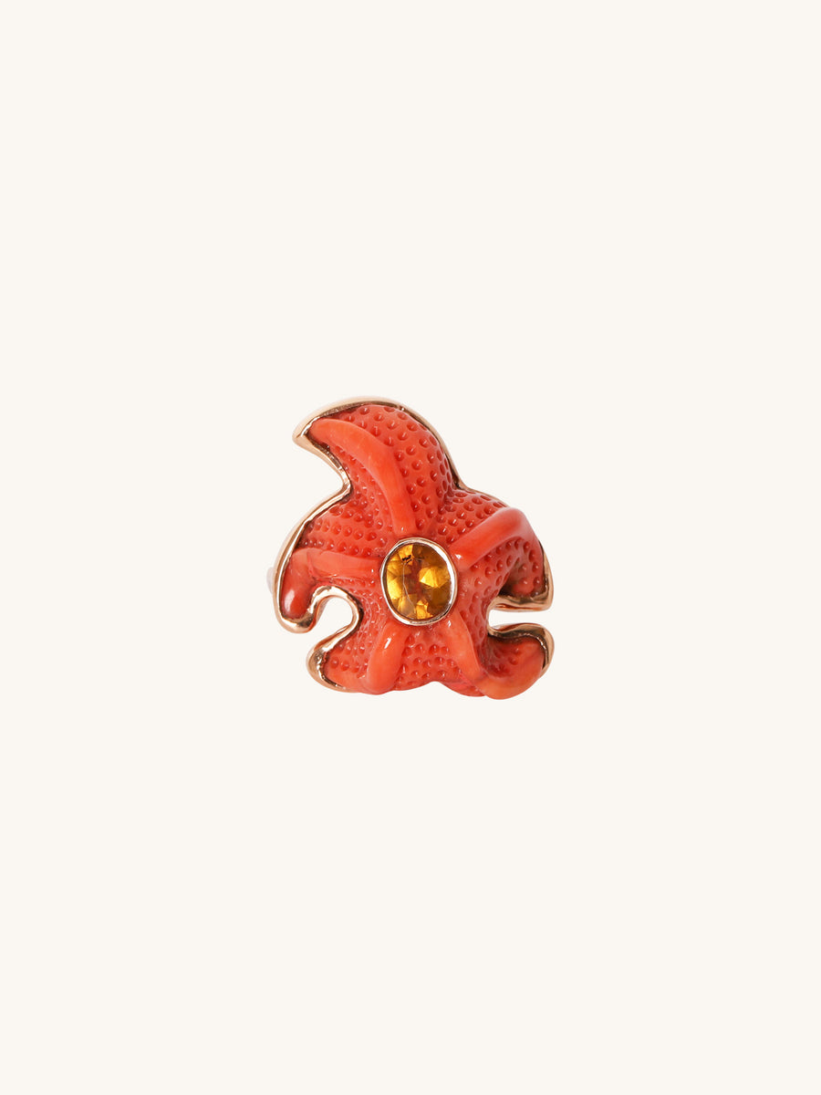Coral & Tourmaline Starfish Ring