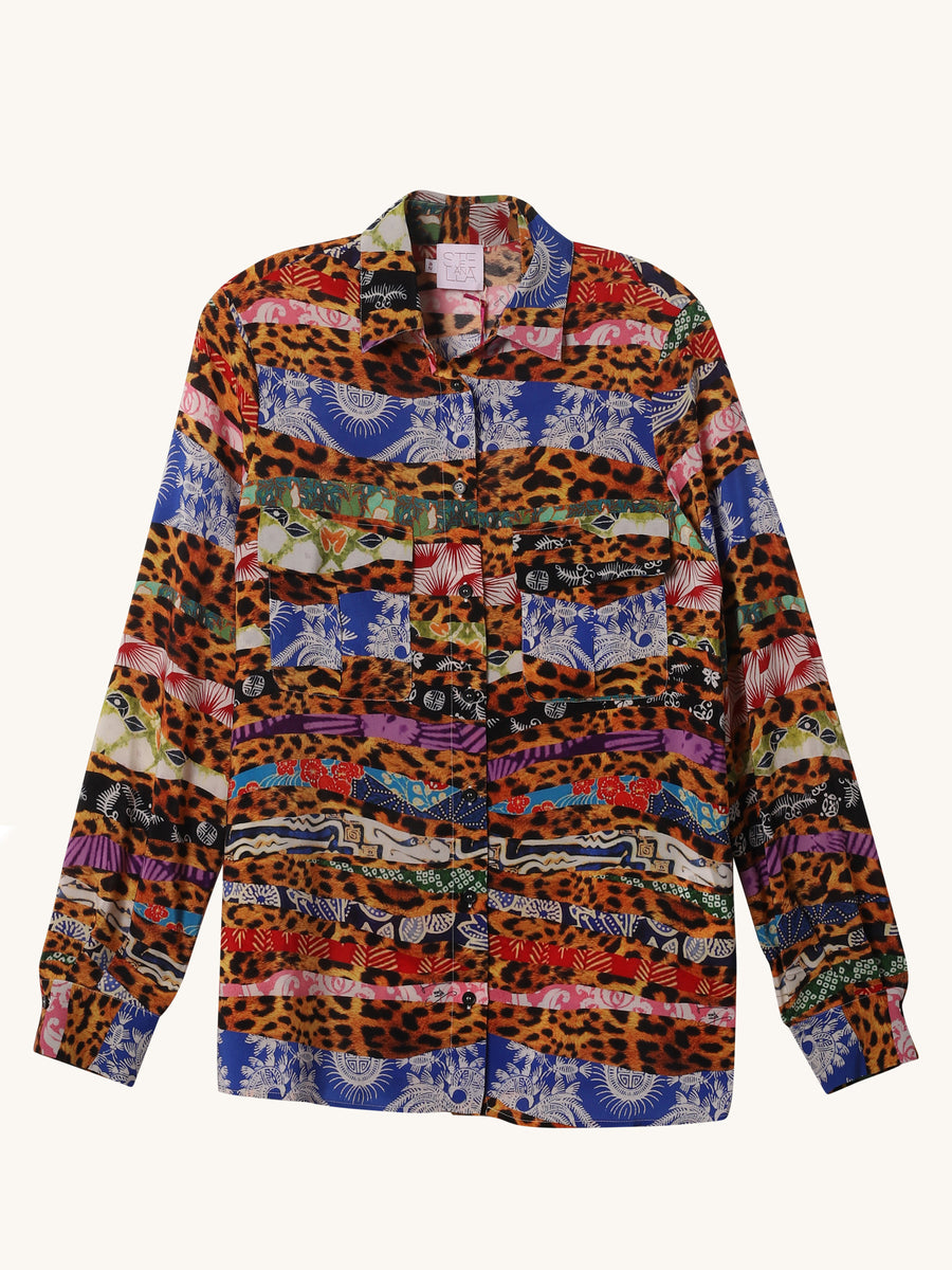 Multi Print Long Sleeve Shirt