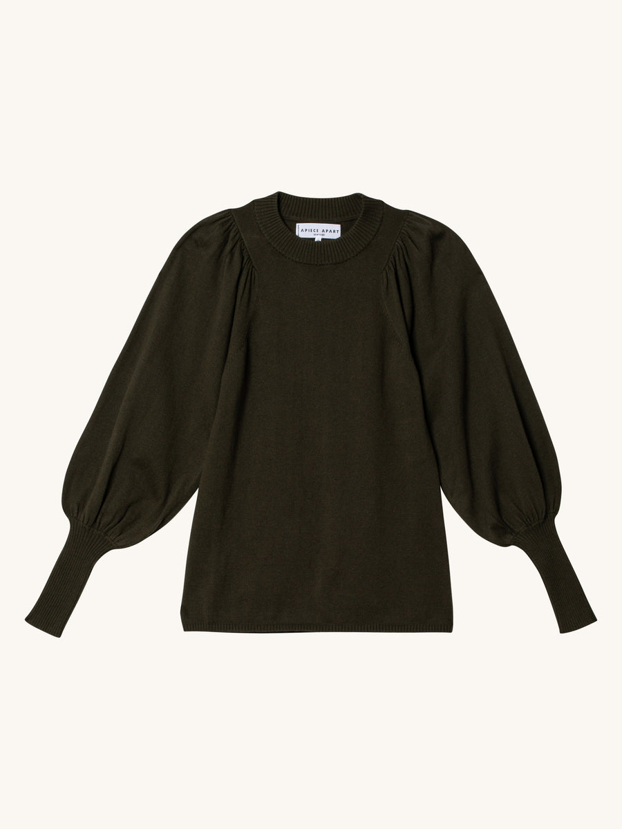 Dewi Puff Sleeve Crewneck in Military