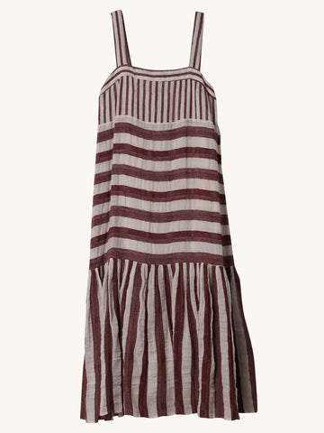 Biscay Stripe Dress in Burgundy