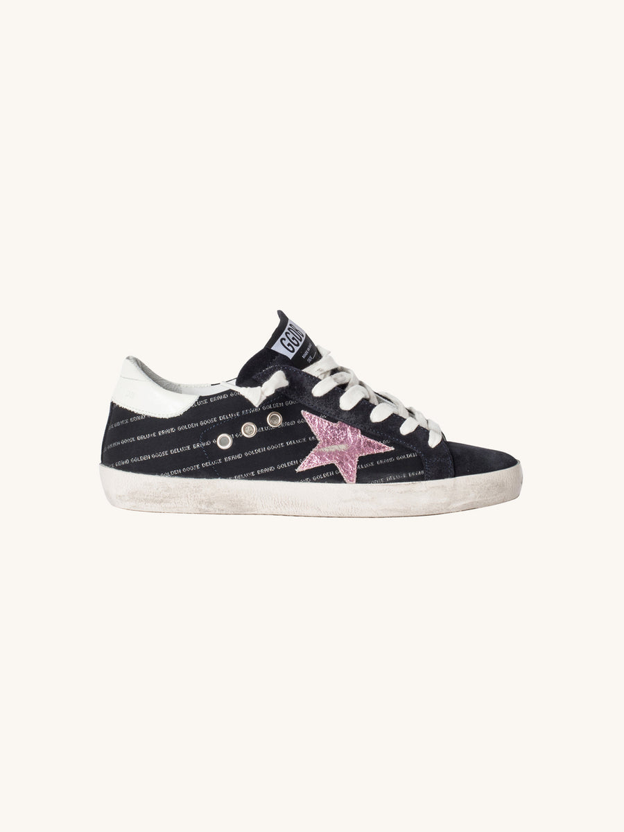 Superstar Sneaker in Black and Silver Logo with Pink Metallic Star