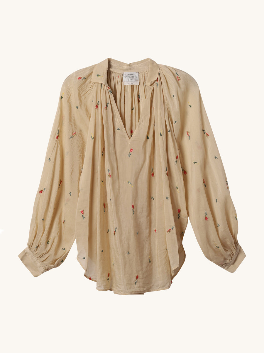 Embroidered Voile Shirt in Sugar