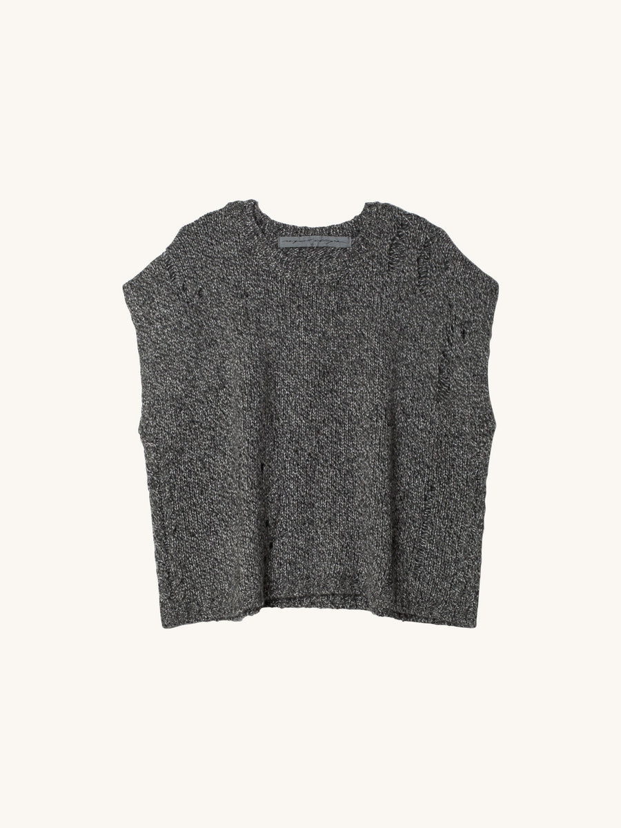Grey Fleck Speckle Vintage Cable Knit Square Top