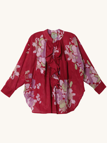 Frill Ruffle Shirt in Raspberry Floral