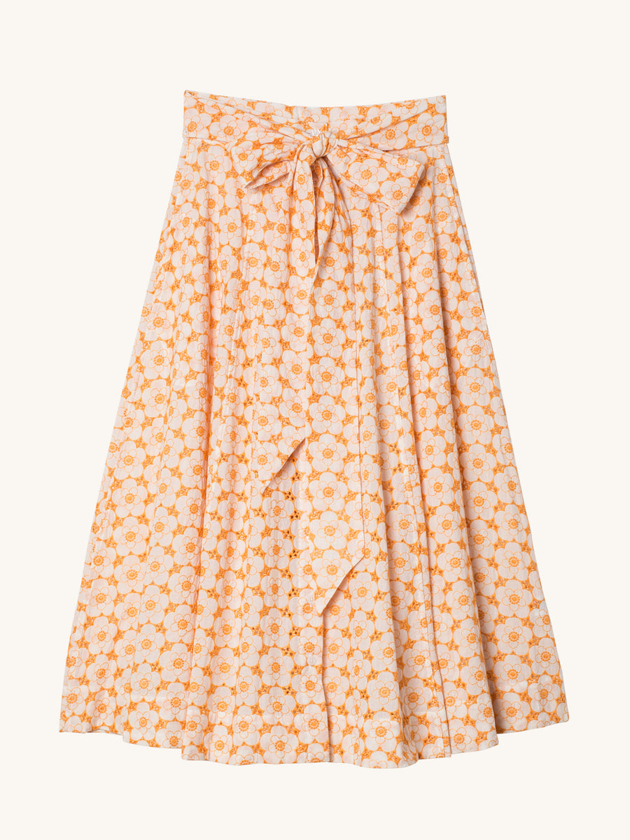 Poppy Tangerine and White Eyelet Beach Skirt