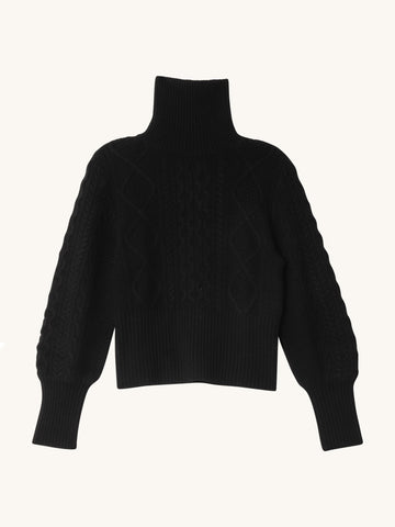 Cable Turtleneck in Black