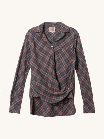 Duke Twist Shirt Pink & Grey Plaid