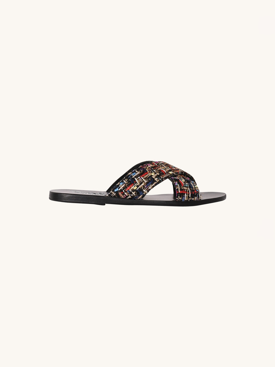 Thais Tweed Sandal in Black