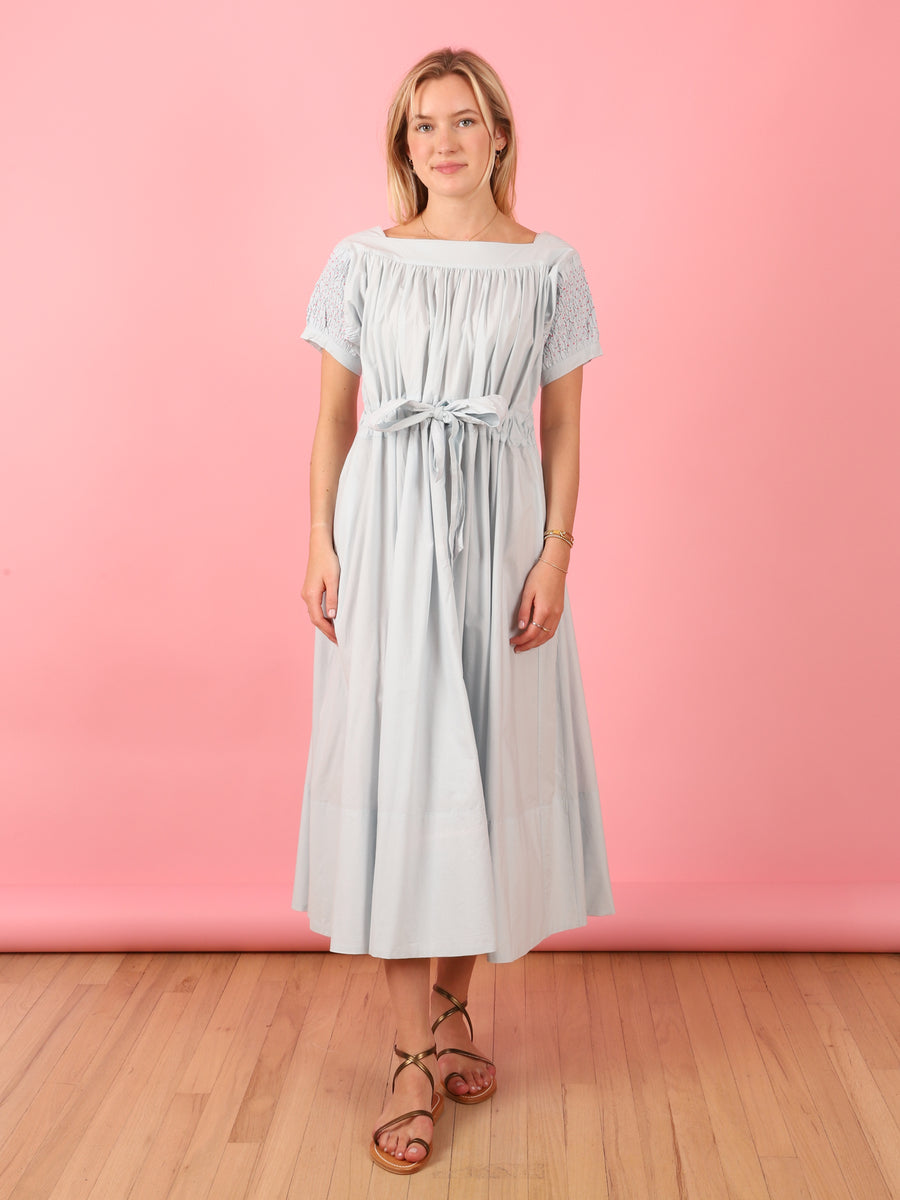 Pearl Grey Folk Dress