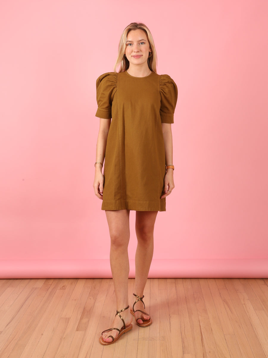Olive Green Puff Sleeve Metta Dress