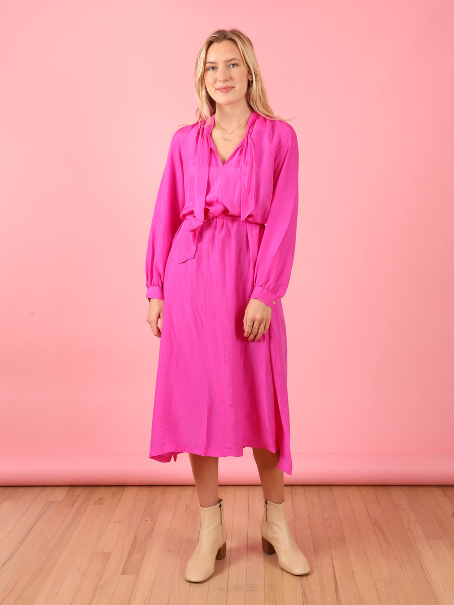 Silk Dress in Fuscia