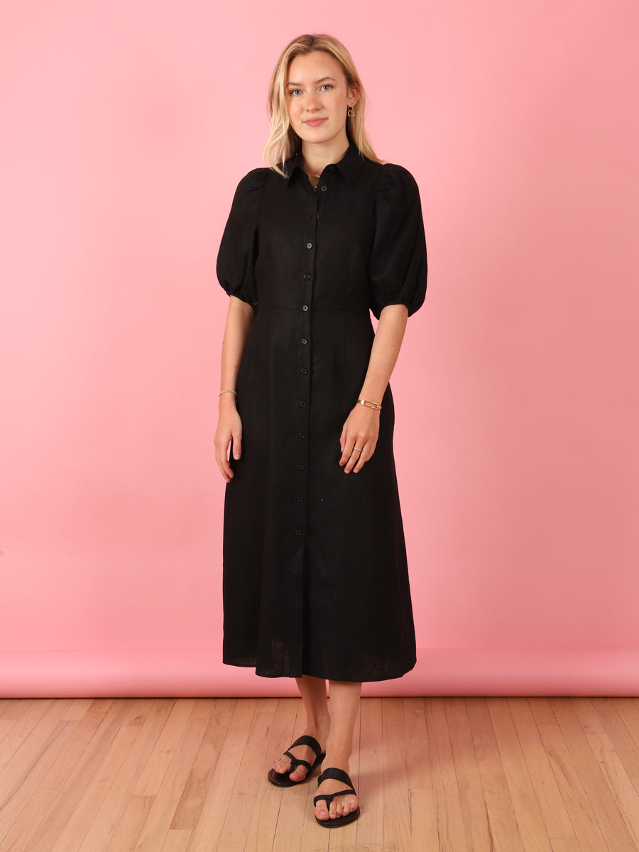 Puff Sleeve Shirtdress in Black
